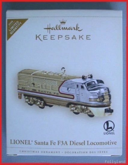 Hallmark Ornament 2006 Lionel SantaFe F3A Locomotive Colorway