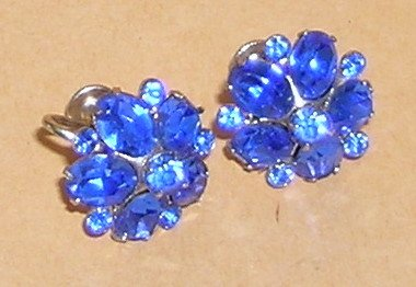 Vintage Coro Blue Earrings