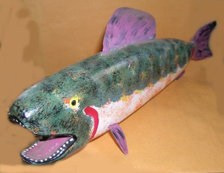 Outsider Art Carved Fish Signed Jim Lewis