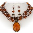 Topaz & Brown Triple Necklace Set