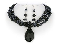 Black & Charcoal Triple Necklace Set