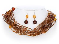 Multi Brown Glass Seed Bead Necklace Set