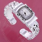 Silver Brighton Look Ornate Cuff Watch