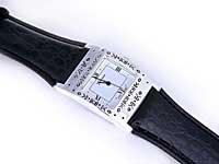 Silver Geneva Brand Black Leather Watch