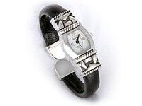 Black & Silver Brighton Look Cuff Watch
