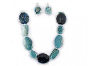 Multi-Blue Stone-Look Necklace Set