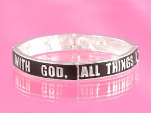 "Black/Silver ""With God�"" Bracelet"