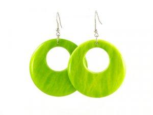 Green Lucite Ring Earrings