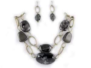 Double Black Stone-Look Necklace Set