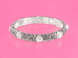 Silver Marcasite & Hammered Circles Bracelet