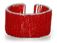 Red Glass Seed Bead Cuff Bracelet