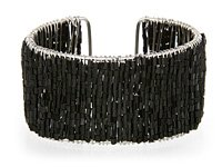 Black Glass Seed Bead Cuff Bracelet