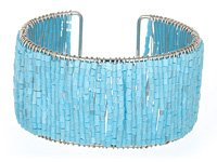 Blue Glass Seed Bead Cuff Bracelet