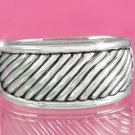 Silver Cable-Style Hinged Bangle