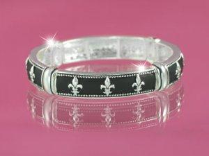 Silver & Black Fleur-de-Lis Bracelet