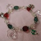 Christmas Bracelet with color beads and silver circle over white beads
