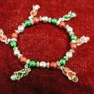 Christmas Bracelet with Red and Green Colored Beads and Flip Flops