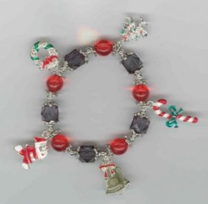 Kid's Christmas Bracelet with Candy Canes, Christmas Trees, Wreaths, Santas, and Bells