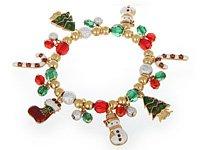 Gold, Red, Green & Wht Christmas Bracelet