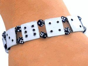 Bunco Bracelet -- White Dice Link Bracelet