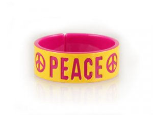 Yellow & Pink PEACE Bangle (LC)