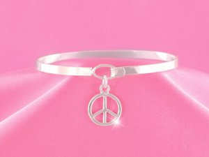 Silver Peace Charm Bangle (LC)