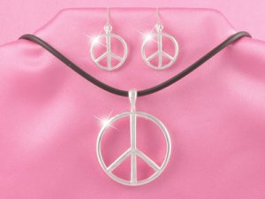 Black & Silver Peace Sign Necklace Set (LC)