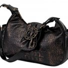 Embassy Ladies Faux Crocodile Handbag with Antique Gold Tone Hardware.