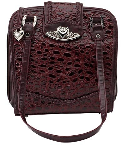 Embassy Solid Genuine Leather Burgundy Purse with Silver Tone Hearts.