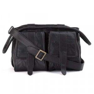 Embassy� Hand-Sewn Pebble Grain Genuine Leather Black Purse