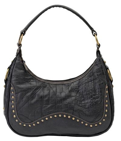 Embassy Italian Stone Design Genuine Leather Purse with Alligator Design and Studded Embellishments