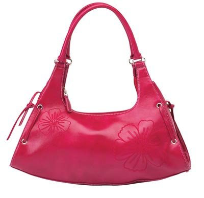 Embassy Rose Colored Purse with Floral Embroidery