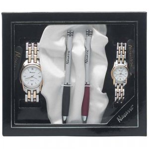 Navarre� Men�s and Ladies' 2 Tone Watch and Ball Point Pen Set.