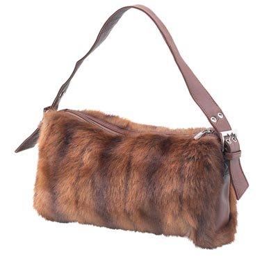 Embassy Faux Fox Fur Handbag with Genuine Leather Trim.