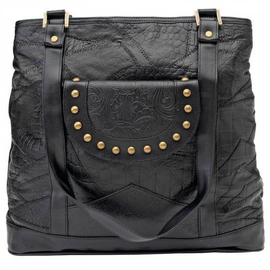 Embassy� Black Genuine Leather Shoulder Bag.