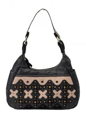 Embassy Italian Stone Design Genuine Leather and Suede Purse with Xs Design.