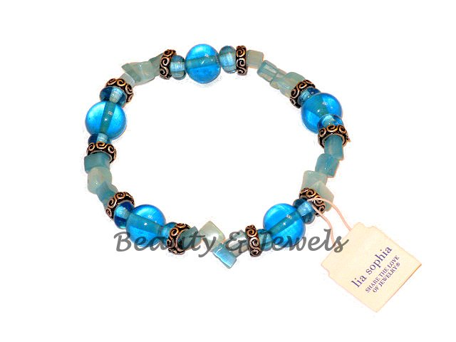 Lia Sophia BLUEBERRY Jade Chip Stretch Bracelet-RV $30