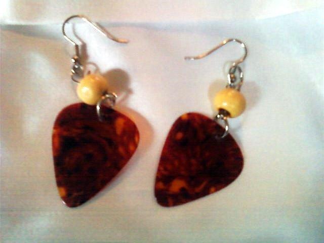 Reddish/Brown Guitar Pick Earrings.