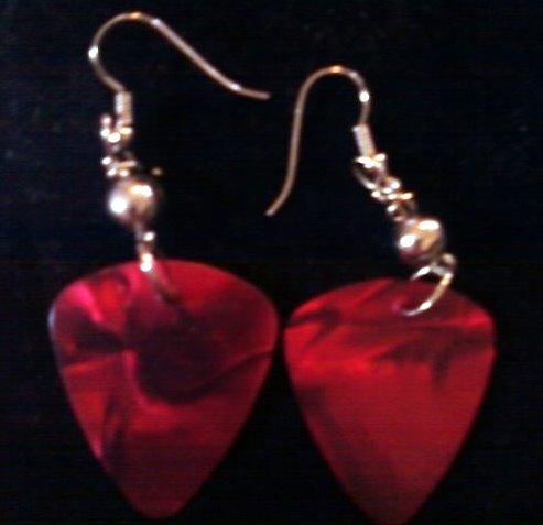 Radical Red Guitar Pick Earrings.