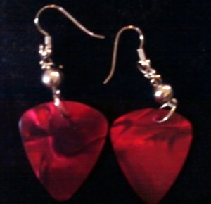 Radical Red Guitar Pick Earrings.