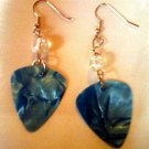 Electric Blue Guitar Pick Earrings.