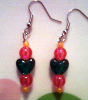 Transparent Green, Orange, and Pink Heart Earrings.