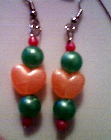 Orange, Green, and Pink Heart Earrings.