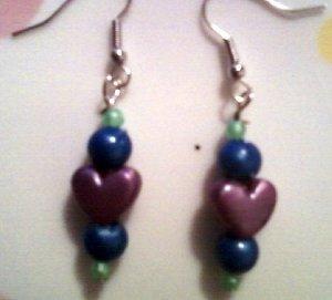 Purple, Green, and Blue Heart Earrings.