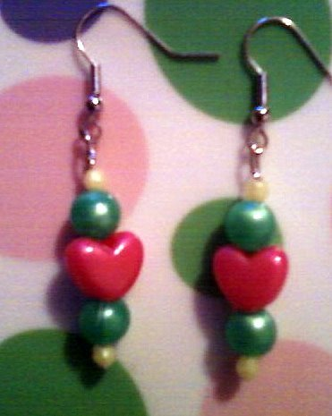 Pink, Green, and Yellow Heart Earrings.