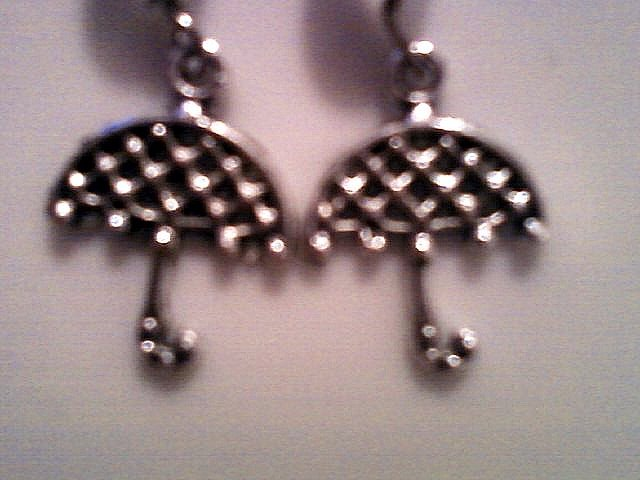 Silver Umbrella Earrings with Pearlescent Beads.