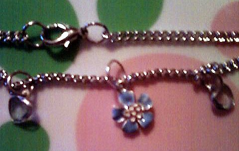 Dangling Silver and Blue Flower and Heart Anklet.