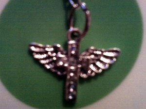 Cross with Wings and Rhinestones Necklace.