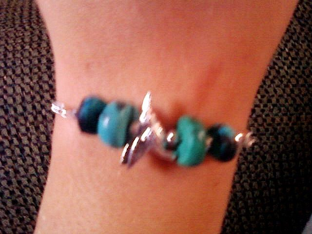 Turquoise and Silver Beaded Humming Bird Bracelet.