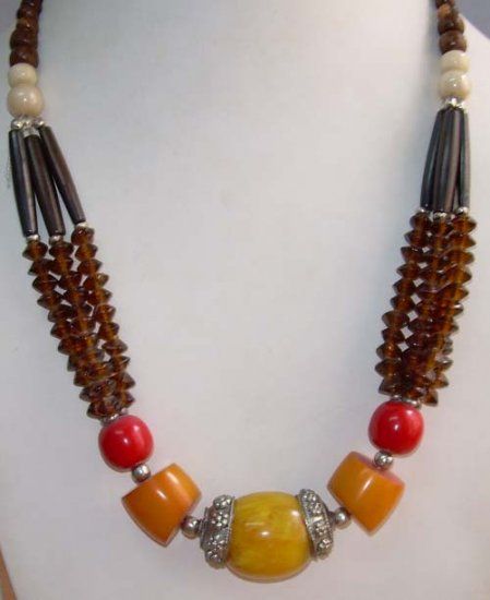 Resin & Bone Beaded Necklace